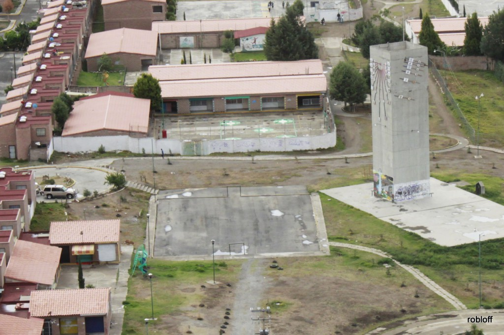 Aerial view of water tower & community center