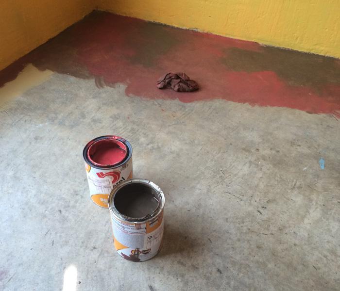 Beginning painting process