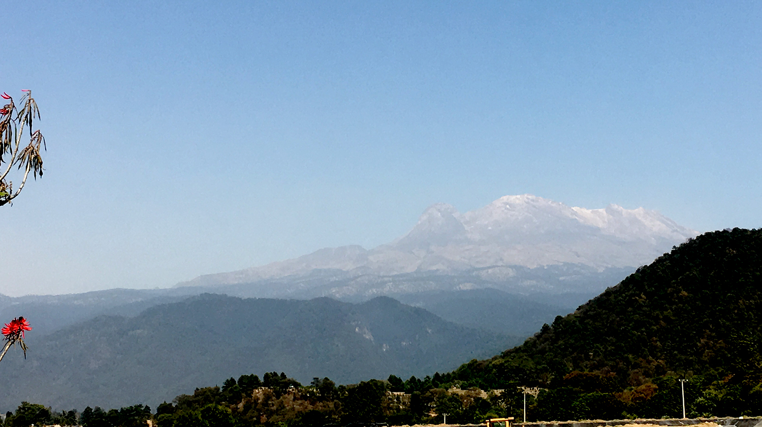 A view of Iztaccíhuatl from the restaurant Los Colorines.