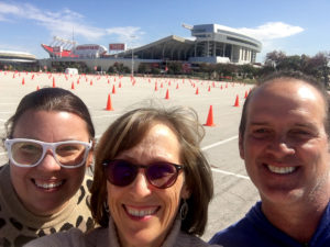 Group selfie in front of Arrowhead Stadium.